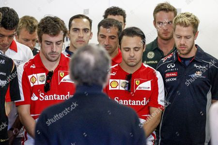 Formula 1 Drivers Observe a Minute of Silence to Honor Late Spanish Racing Driver Maria De Villota who Died on 11 October in Seville Ahead of the Japanese Formula One Grand Prix at the Suzuka Circuit in Suzuka Japan 13 October 2013 Japan Suzuka