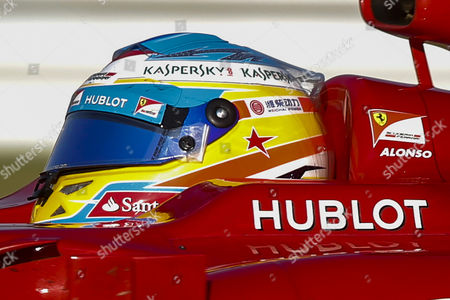 A Red Star is Seen on the Helmet of Spanish Formula One Driver Fernando Alonso of Scuderia Ferrari As a Tribute to Late Spanish Racing Driver Maria De Villota who Died on 11 October 2013 in Seville Spain During the Japanese Formula One Grand Prix at the Suzuka Circuit in Suzuka Japan 13 October 2013 Japan Suzuka