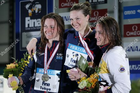 Stock Image of Gold Medalist Lauren Boyle (c) of New Zealand Poses with Silver Medalist Melani Costa (l) of Spain and Bronze Medalist Mireia Belmonte (r) of Spain During the Medal Ceremony For the Women's 400m Freestyle Competition of the Fina Swimming World Cup 2013 at Tokyo Tatsumi International Swimming Center in Tokyo Japan 10 November 2013 Japan Tokyo