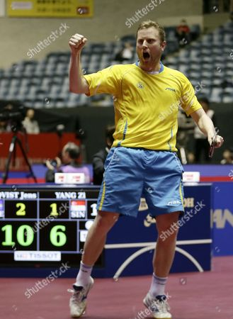 Jens Lundqvist of Sweden Celebrates After Scoring a Point Against Yang Zi of Singapore During the Men's Team Event of the Table Tennis Team World Championships in Tokyo Japan 02 May 2014 Singapore Defeated Sweden to Advance to the Quarterfinals Japan Tokyo