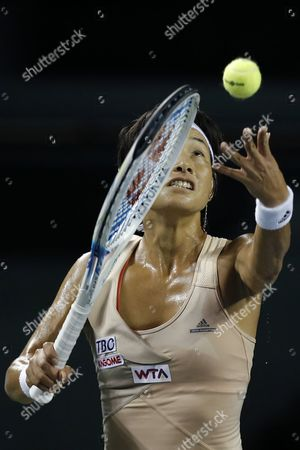 Kimiko Date-krumm of Japan Serves to Victoria Azarenka of Belarus During Their First Round Match of the Toray Pan Pacific Open Tennis Tournament in Tokyo Japan 16 September 2014 Japan Tokyo