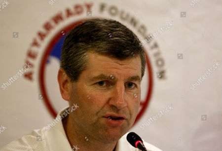 Former Manchester United Soccer Player Denis Irwin Talks to Media During Press Conference About Manchester United All Star Team's Charity Match in Yangon Myanmar 26 April 2013 Manchester United's Former Players Including Denis Irwin Andy Cole Clayton Blackmore and Lee Sharpe Will Play a Charity Football Match in Yangon on 09 June 2013 Myanmar Yangon
