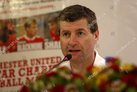 Former Manchester United Soccer Player Denis Irwin Talks to Media During Press Conference About Manchester United All Star Team's Charity Match in Yangon Myanmar 26 April 2013 Manchester United's Former Footballer Including Denis Irwin Andy Cole Clayton Blackmore and Lee Sharpe Will Play a Charity Football Match in Yangon on 09 June 2013 Myanmar Yangon