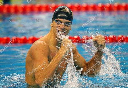 Cesar Cielo Filho of Brazil Celebrates After Winning the Men's 100m Freestyle Final During the 12th Fina Short Course World Swimming Championships at Hamad Aquatic Centre in Doha Qatar 07 December 2014 Qatar Doha