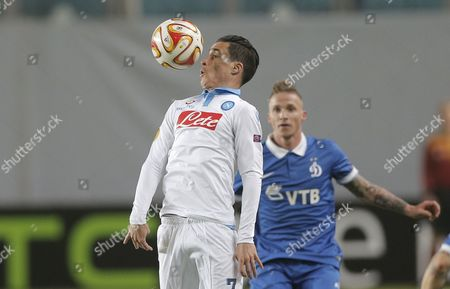 Jose Callejon (l) of Ssc Napoli in Action Against Alexander Buttner (r) of Dinamo Moscow During the Uefa Europa League Round of 16 Second Leg Soccer Match Between Dinamo Moscow and Ssc Napoli at Khimki Stadium in Moscow Russia 19 March 2015 Russian Federation Moscow