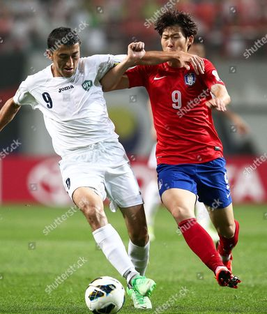 South Korea's Son Heung-min (r) in Action Against Uzbekistan's Odil Ahmedov (l) During the 2014 Fifa World Cup Qualifying Soccer Match Between South Korea and Uzbekistan at the Sangam World Cup Stadium in Seoul South Korea 11 June 2013 South Korea Won 1-0 Korea, Republic of Seoul