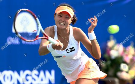 Su-jeong Jang of South Korea Returns to Lara Arruabarrena of Spain During Their Women Quarterfinal Match of the 2013 Kdb Korea Open Tennis Championships at the Olympics Park in Seoul South Korea 20 September 2013 Arruabarrena Won in Two Straight Sets by 6-0 6-4 Korea, Republic of Seoul