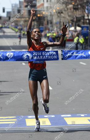 Rita Jeptoo of Kenya Crosses the Finish Line to Win the Women's Division of the 118th Boston Marathon in in Boston Massachusetts Usa 21 April 2014 United States Boston