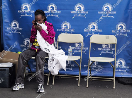 Rita Jeptoo of Kenya Talks on the Phone After Winning the Women's Division of the 118th Boston Marathon in in Boston Massachusetts Usa 21 April 2014 Defending Champion Rita Jeptoo Won the Women's Race to Become a Three-time Winner United States Boston