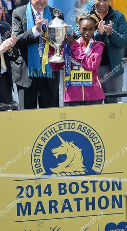 Rita Jeptoo of Kenya Lifts the Trophy After Winning the 118th Running of the Marathon in Boston Massachusetts Usa 21 April 2014 United States Boston