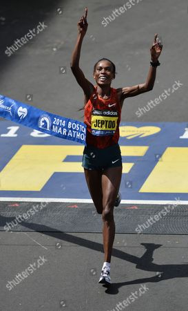 Rita Jeptoo of Kenya Crosses the Finish Line to Win the 118th Running of the Marathon in Boston Massachusetts Usa 21 April 2014 a Number of the World's Top Runners Are Set to Be in the Field For the 118th Boston Marathon Amid Heavy Security One Year After a Deadly Terrorist Bombing Disrupted the Race United States Boston