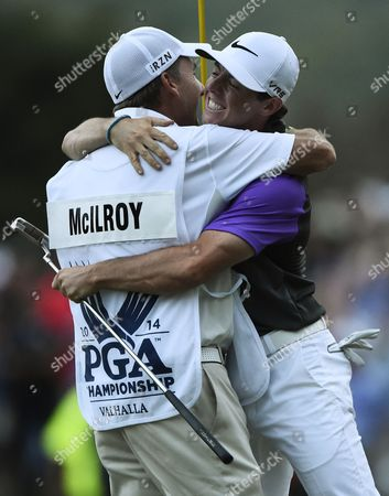 Rory Mcilroy of Northern Ireland (r) Hugs His Caddy Jp Fitzgerald (l) After Winning the 96th Pga Championship Golf Tournament at the Valhalla Golf Club in Louisville Kentucky Usa 10 August 2014 United States Louisville