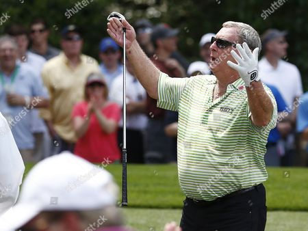 Fuzzy Zoeller of the Us Reacts to Patrons on the Fifth Hole During the Par 3 Contest at the 2015 Masters Tournament at the Augusta National Golf Club in Augusta Georgia Usa 08 April 2015 the Masters Tournament is Held 09 April Through 12 April 2015 United States Augusta