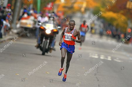 Geoffrey Mutai of Kenya on His Way to Win the New York City Marathon in New York New York Usa 03 November 2013 Mutai Defended His New York Marathon Title in 2 Hours 8 Minutes 24 Seconds United States New York