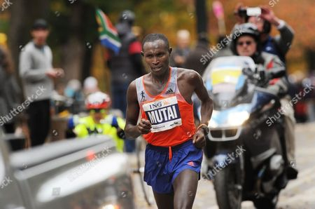Geoffrey Mutai of Kenya Competes in the New York City Marathon in New York New York Usa 03 November 2013 Mutai Defended His New York Marathon Title in 2 Hours 8 Minutes 24 Seconds United States New York