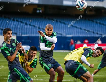 Mexico National Team Members (l-r) Diego Reyes Oribe Peralta Carlos Salcido and Rafa Marquez During Practice For Their International Friendly Match Against Bosnia Herzegovina at Soldier Field in Chicago Illinois Usa 02 June 2014 the Teams Will Face Each Other 03 June United States Chicago