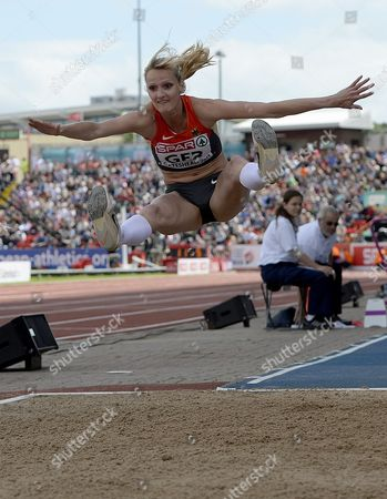 Jenny Elbe of Germany Competes in the Womens' Triple Jump Event During the European Athletics Team Championships in Gateshead Britain 22 June 2013 United Kingdom Gateshead