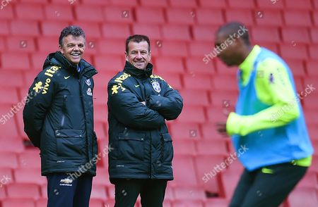 Brazilian National Soccer Team Head Coach Carlos Dunga (c) Leads His Team's Training Session in London Britain 28 March 2015 Brazil Will Face Chile in an International Friendly Soccer Match on 29 March 2015 United Kingdom London
