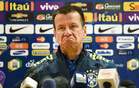 Brazilian National Soccer Team Head Coach Carlos Dunga Reacts During a Press Conference in London Britain 28 March 2015 Brazil Will Face Chile in an International Friendly Soccer Match on 29 March 2015 United Kingdom London