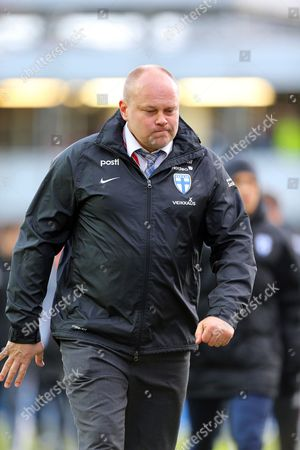 Stock Photo of Finland's Head Coach Mixu Paatelainen Reacts After the Uefa Euro 2016 Qualifying Group F Soccer Match Between Northern Ireland and Finland at Windsor Park in Belfast Northern Ireland 29 March 2015 Northern Ireland Won 2-1 United Kingdom Belfast