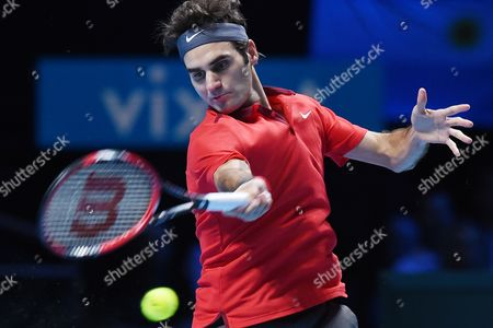 Switzerland's Roger Federer Returns to Switzerland's Stanislav Wawrinka During the Atp World Tour Finals Semi Final Match at the O2 Arena in London Britain 15 November 2014 United Kingdom London