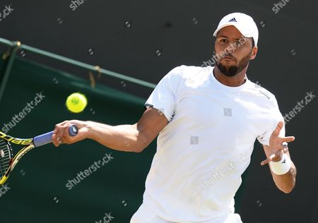 Jo-wilfried Tsonga of France Returns to Jimmy Wang of Taiwan in Their Third Round Match During the Wimbledon Championships at the All England Lawn Tennis Club in London Britain 27 June 2014 United Kingdom Wimbledon