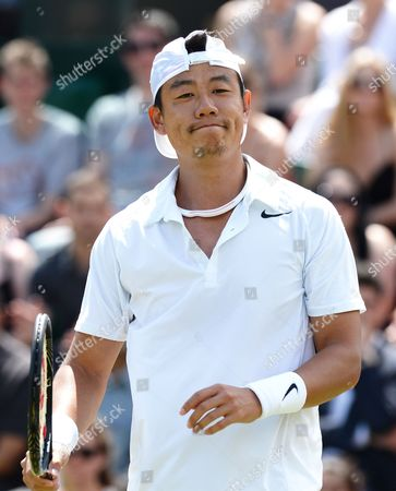 Jimmy Wang of Taiwan Plays Jo-wilfried Tsonga of France in Their Third Round Match During the Wimbledon Championships at the All England Lawn Tennis Club in London Britain 27 June 2014 United Kingdom Wimbledon