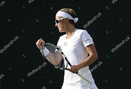 Kirsten Flipkens of Belgium Scores Against Tamira Paszek of Austria in Their First Round Match For the Wimbledon Championships at the All England Lawn Tennis Club in London Britain 24 June 2014 United Kingdom Wimbledon