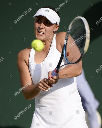 Tamira Paszek of Austria Returns to Kirsten Flipkens of Belgium in Their First Round Match For the Wimbledon Championships at the All England Lawn Tennis Club in London Britain 24 June 2014 United Kingdom Wimbledon