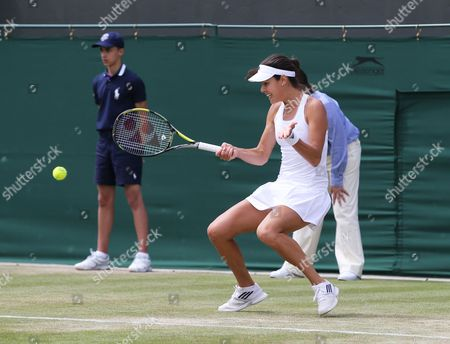 Ana Ivanovic of Serbia Returns to Jie Zheng of China During Their Second Round Match of the Wimbledon Championships at the All England Lawn Tennis Club in London Britain 26 June 2014 United Kingdom Wimbledon