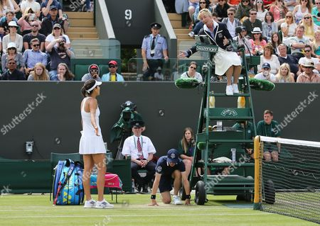 Ana Ivanovic of Serbia Takes to the Umpire During Her Second Round Match Against Jie Zheng of China at the Wimbledon Championships at the All England Lawn Tennis Club in London Britain 26 June 2014 United Kingdom Wimbledon