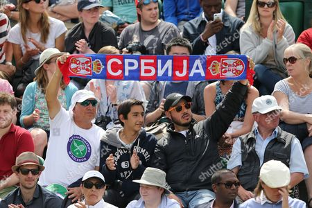 Fans of Ana Ivanovic of Serbia During Her Match Against Jie Zheng of China at the Wimbledon Championships at the All England Lawn Tennis Club in London Britain 26 June 2014 United Kingdom Wimbledon
