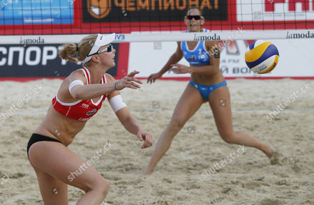 Madelein Meppelink (l) of Netherlands in Action Against Viktoria Orsi Toth of Italy Women's Semifinal Beach Volley Grand Slam of the Swatch Fivb World Tour in Moscow Russia 30 May 2015 Russian Federation Moscow
