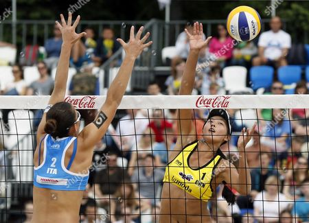 Viktoria Orsi Toth (l) of Italy in Action Against Fan Wang of China During Women's Bronze Medal Match at the Beach Volley Grand Slam of the Swatch Fivb World Tour in Moscow Russia 31 May 2015 Russian Federation Moscow