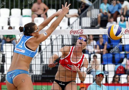 Madelein Meppelink (r) of Netherlands in Action Against Viktoria Orsi Toth (l) of Italy Women's Semifinal Beach Volley Grand Slam of the Swatch Fivb World Tour in Moscow Russia 30 May 2015 Russian Federation Moscow