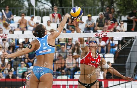 Marleen Van Lersel (r) of Netherlands in Action Against Viktoria Orsi Toth of Italy During Women's Semifinal Beach Volley Grand Slam of the Swatch Fivb World Tour in Moscow Russia 30 May 2015 Russian Federation Moscow
