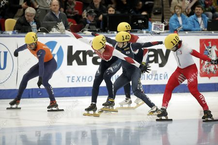 Sjinkie Knegt of the Netherlands Semen Elistratov of Russia Se Yeong Park of Korea Victor an of Russia and Charles Hamelin of Canada (l-r) Cross the Finish Line During the Men's 1500m at Isu World Short Track Speed Skating Championships in Krylatskoe Skating Palace Moscow Russia 14 March 2015 Russian Federation Moscow