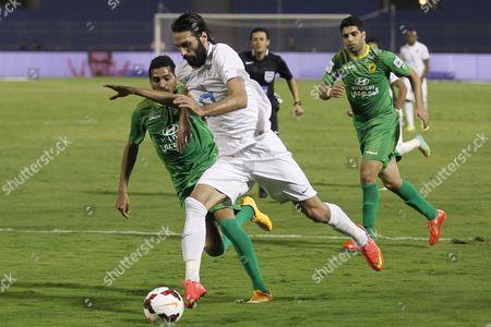 Georgios Samaras of Al-hilal (front) and Solomon Hazaz of Al Khalej in Action During the Crown Prince Cup Soccer Match Between Al-hilal and Al-khalej at Prince Faisal Bin Fahd Stadium in Riyadh Saudi Arabia 09 February 2015 Saudi Arabia Riyadh