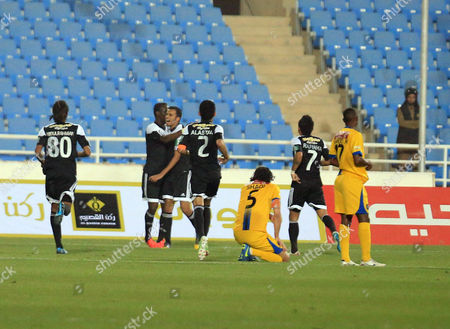 Al-shabab Players Celebrate After Scoring the 0-1 Goal During the Saudi Professional League Soccer Match Between Al Taawoun And?áal-sahabab?áat Prince Abdullah Bin Abdul Aziz Stadium in Buraidah Saudi Arabia 17 April 2015 Saudi Arabia Buraidah