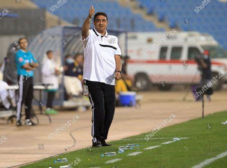 Al-shabab's Head Coach Adel Abdulrahman Reacts During the Saudi Professional League Soccer Match Between Al Taawoun And?áal-sahabab?áat Prince Abdullah Bin Abdul Aziz Stadium in Buraidah Saudi Arabia 17 April 2015 Saudi Arabia Buraidah