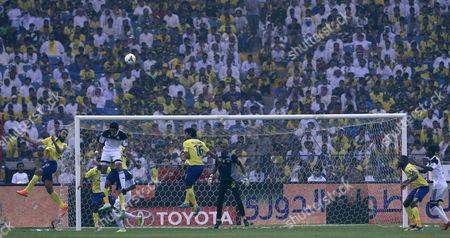 Al Nassr Player Mohammad Al Sahlawi (l) in Action During the Saudi Professional League Soccer Match Between Al Nassr and Al Shabab at King Fahd International Stadium Riyadh Saudi Arabia 15 May 2015 Saudi Arabia Riyadh