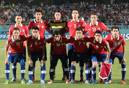 Players of Chile (front Row L-r) Mario Larenas Felipe Mora Nicolas Maturana Christian Bravo Captain Sebastian Martinez and Cesar Fuentes; (back Row L-r) Cristian Cuevas Valber Huerta Goalkeeper Dario Melo Alejandro Contreras and Oscar Hernandez Pose For Photographers Before the Fifa Under 20 World Cup 2013 Soccer Match Between Iraq and Chile at the Akdeniz University Stadium in Antalya Turkey 29 June 2013 Iraq Won 2-1 Turkey Antalya