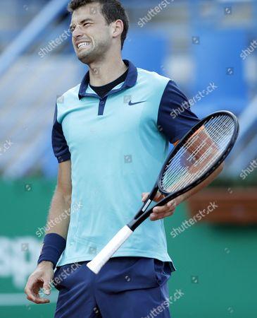 Grigor Dimitrov of Bulgaria Reacts During His First Round Match Against Andrey Golubev of Kazakhistan at the Teb Bnp Paribas Istanbul Open Tennis Tournament in Istanbul Turkey 30 April 2015 Turkey Istanbul