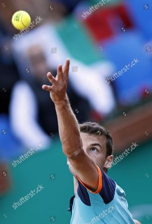 Grigor Dimitrov of Bulgaria Serves the Ball to Andrey Golubev of Kazakhistan During Their First Round Match of the Teb Bnp Paribas Istanbul Open Tennis Tournament in Istanbul Turkey 30 April 2015 Turkey Istanbul