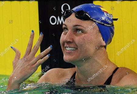 Melani Costa of Spain Celebrates After Winning the Women's 400m Freestyle Final During the Fina/arena Swimming World Cup 2013 at Hamdan Bin Mohammed Bin Rashid Sports Complex in Dubai United Arab Emirates 18 October 2013 United Arab Emirates Dubai
