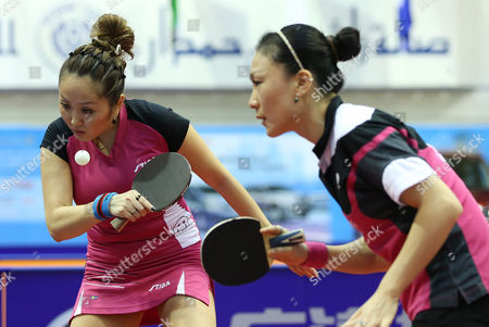 Xiaona Shan (r) and Zhenqi Barthel (l) of Germany in Action Against Huang Yi-hua and Cheng I-ching From Chinese Taipei During Their Women's Doubles Semi-final Match For the Gac Group Ittf World Tour Grand Finals at Al-nasr Club in the Gulf Emirate of Dubai United Arab Emirates 12 January 2014 United Arab Emirates Dubai