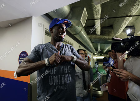 New York Knicks First Round Draft Pick Tim Hardaway Jr Addresses the Media Outside the Clubhouse Before the Start of Mlb Game Between the Washington Nationals Vs New York Mets at Citi Field in Flushing Meadows New York Usa 28 June 2013 United States Queens