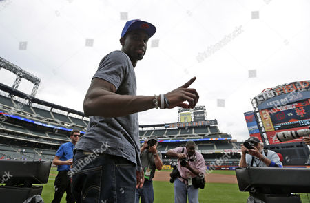 New York Knicks First Round Draft Pick Tim Hardaway Jr Acknowledges the Media on the Field Before the Start of Mlb Game Between the Washington Nationals Vs New York Mets at Citi Field in Flushing Meadows New York Usa 28 June 2013 United States Queens