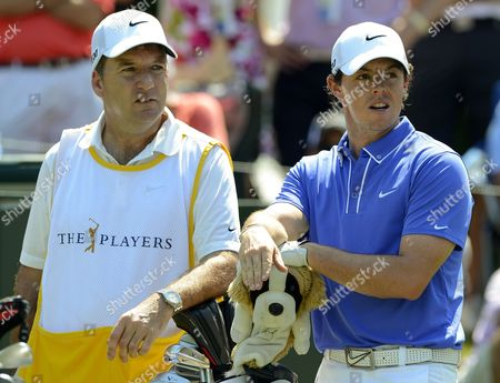 Rory Mcilroy (r) of Northern Ireland and His Caddie J P Fitzgerald Wait at the Eighth Tee Box During the Second Round of the Players Championship at the Tpc Sawgrass Stadium Course in Ponte Vedra Beach Florida Usa 10 May 2013 United States Ponte Vedra Beach