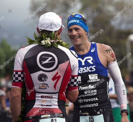 Americans Ben Hoffman (l) and Andy Potts Congratulate Each Other on Their Respective Second and Fourth Place at the 2014 Ironman World Championship in Kailua Kona Hawaii Usa 11 October 2012 the Ironman Competition Challenges Competitors with a 3 9 Km Swim Followed by a 180 Km Bike Ride and is Finished with a Marathon (42 195 Km) Run United States Kailua-kona